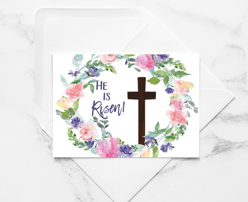 He Is Risen Printable Easter Greeting Card Jesus Cross Easter Card Easter Card Easter instant Download Card DIY Print at Home Cards
