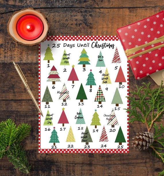 Christmas Countdown Calendar.Christmas Countdown Calendar Printable Advent Calendar Christmas Wall Art Diy Advent December Planning Calendar Christmas To Do