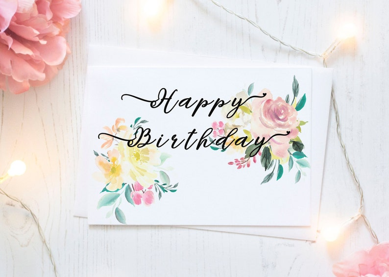 Printable Happy Birthday Card For Her Watercolor Floral