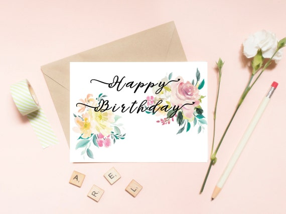 photo about Printable Happy Birthday Images known as Printable Delighted Birthday Card For Her, Watercolor Floral Hand Lettered Birthday Card, PDF Fast Card, Woman Card, Ground breaking Calligraphy