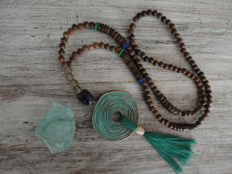 Mala necklace goddess made of wood with antique spiral pendant  tassel cotton GreenGoddessspiralsacred feminine boho necklace