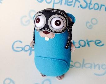 Gopher pilot Golang Gopher  Developer Go. Gift go  programmer.