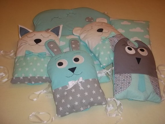 Kinder Kissen Eule owl F/üllung mit Name blau