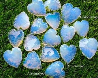 Loose Gemstone Opalite Cabochon Heart Shape Crescent Heart Blue Opalite Stone Heart Jewelry 29X27X7 MM Opalite Heart Puffy Heart