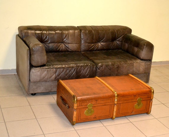 Leather sofa Patchwork design leather sofa vintage rustic loft leather  seating 70s 1970 sleep couch couch armchair chair bed Nostalgia