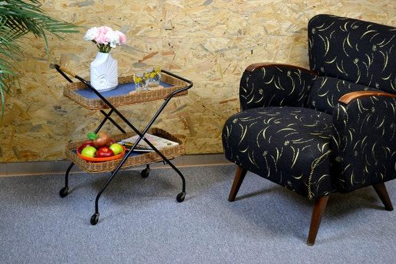 Voiture de chariot Bar DDR design vintage côté table côté café table bar  chariot mi siècle Brocante thé chariot plateau 60