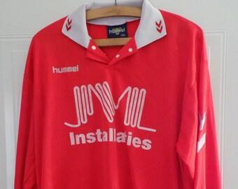 a6c5c287c Hummel 80 s 90 s Retro Vintage Football Shirt Jersey Very RARE XXL Top  Shirt Soccer Maglia Camiseta