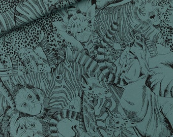 french terry WILD ANIMALS / north atlantic blue / see you at six . collection 17 (20,80 eur/Meter)