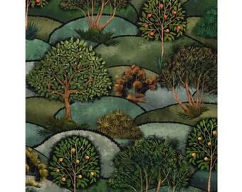 DEKOSTOFF trees landscape / light canvas cotton / digital print (17,80 EUR/meter)