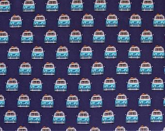 jersey CAMPER camping bus blue / digital print (17.80 EUR/meter)