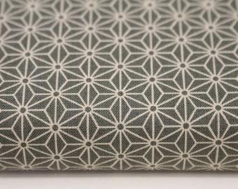 japanese fabric cotton / ASANOHA hemp blossom / khaki / star pattern (17.80 EUR/meter)