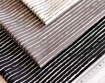 fabric package POPELINE cotton striped crayon / 3 x 0.5 m or 3 x 1 m / white grey black (9.90 EUR/meter)