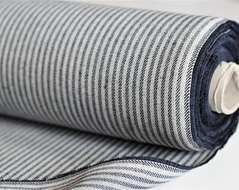 1 m+ decorative fabric woven FISHGRAT STREIFEN marine ecru / herringbone (12,00 EUR/meter)