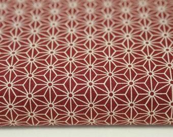 japanese fabric cotton / ASANOHA hemp blossom / bordeaux / star pattern (17.80 EUR/meter)