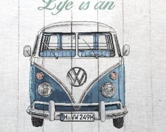 DEKOSTOFF vw bus bulli / GOBELIN / cushion fabric / panel size 47 x 47 cm