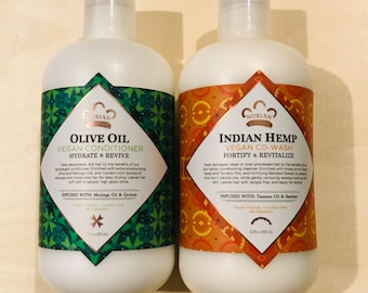Nubian Heritage Olive Oil Vegan Conditioner + Indian Hemp Vegan Co-Wash Set