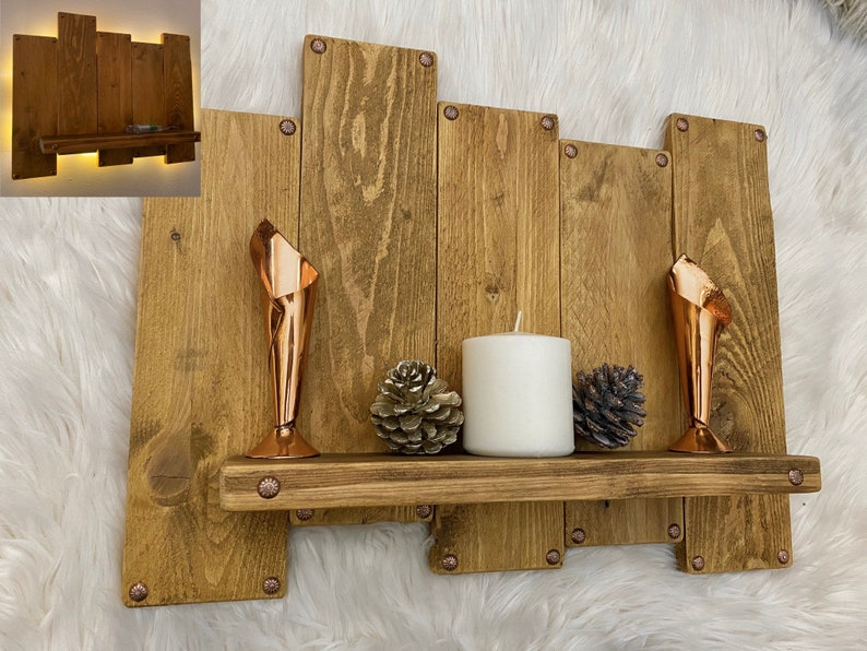 Large handmade wooden shelf with backlight organiser home image 0