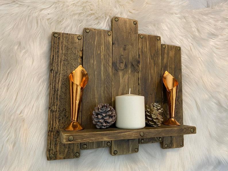 Large handmade wooden shelf key holder organiser home hook image 0