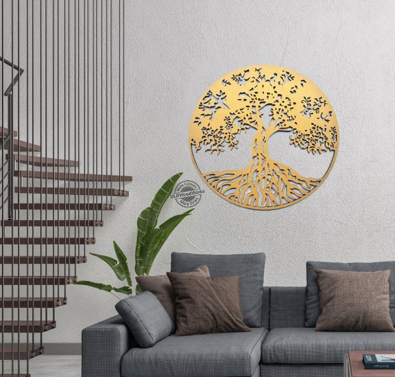 Large 60 50 40 30cm Tree Of Life Round Wall Art Wooden Family Etsy
