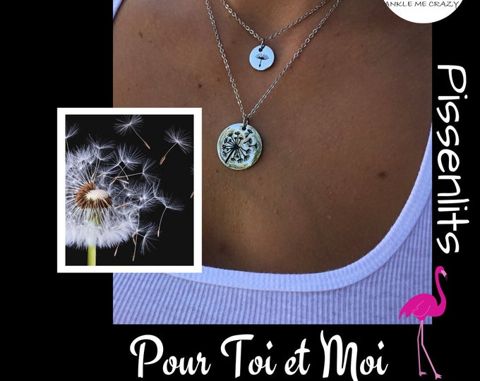 Featured listing image: MOM and me, mother and daughter necklace, silver stainless steel, dandelion medallion, make a wish, gift MOM