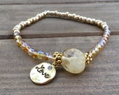 CITRINE stone, stone gems, seed beads glass Czech beads, gold, citrine, bracelet, gift.