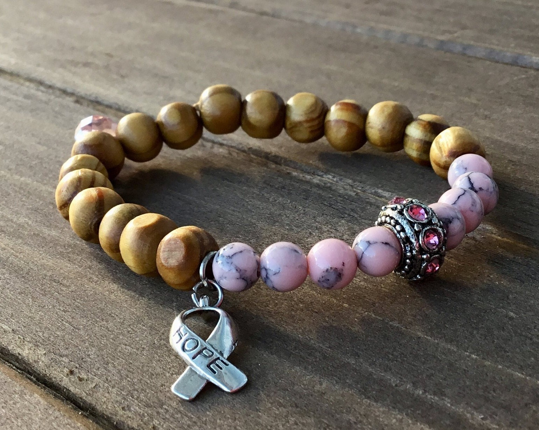 Breast CANCER, awareness Bracelet, healing, cancer survivor bracelet  Pandora, survivor, Pink Rhinestone bead