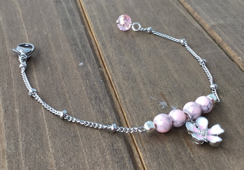 enamel pink rhodonite Charm Bracelet delicate bracelet silver Flower of MAGNOLIA delicate magnolia flower
