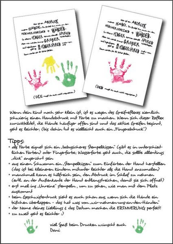 Handabdruck Meine Hand Fur Dich A4 Etsy