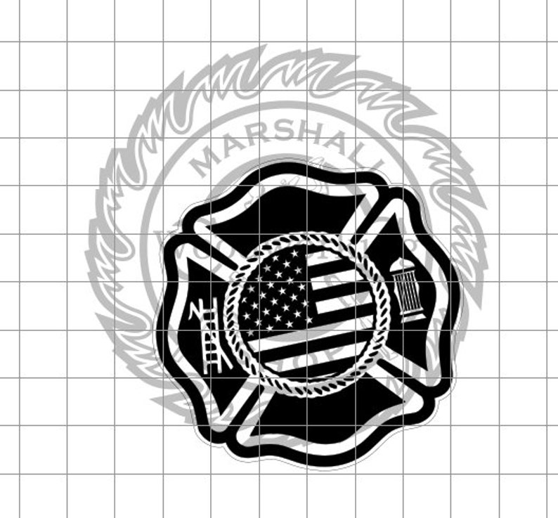 Fire Rescue Logo Blank with Flag dxfsvg