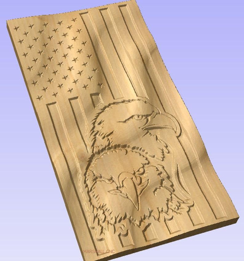 3D US Flag - Eagle Pair vertical #1 crv File