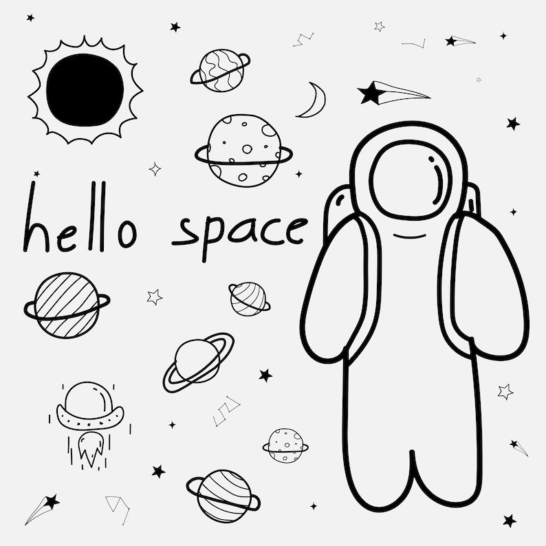 Hand Drawn Space Space Clipart Outer Space Clipart Star