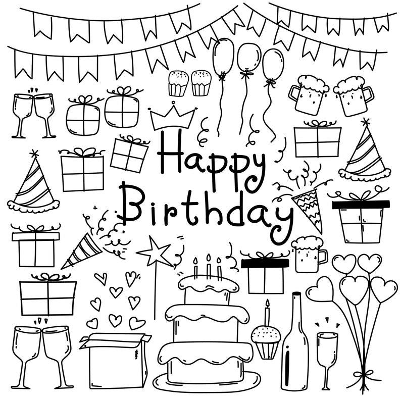 Hand Drawn Doodle Happy Birthday Clipart Happy Birthday