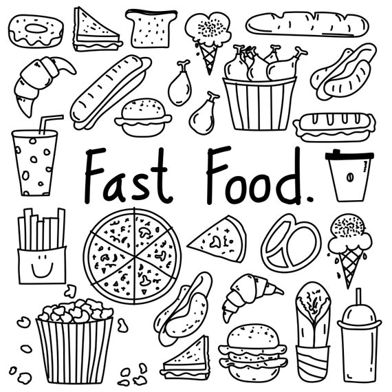 Hand Drawn Doodle Fast Food Clipart Fast Food Clipart Bakery
