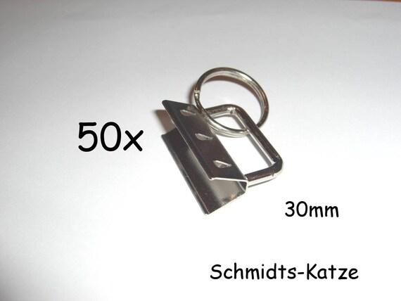 10 x Klemmschließe Schlüsselring für Schlüsselanhänger Klemme 2,5 cm Rohling