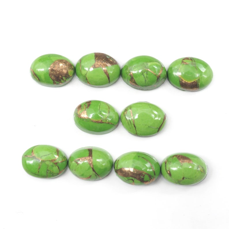 GTG-GT-12 10 Pieces Green Copper Turquoise Cabs Oval 7 x 5 mm Approximately 6.20 Carat