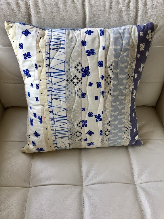 100/% cotton 20X26 inches kantha boho stonewashed Denim blue quilted stripe pattern pillow covers