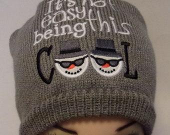 49de3e3d0e97e7 Cool snowman stocking cap, knit snowman beanie, funny knit hat, winter  skull cap, funny toque, fits most