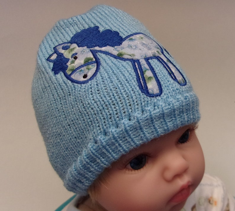 0e708388c Newborn hat, new born, Infant hat, cute horse, pony, new mother, toddler,  baby shower gift, knit hat, fits 3-6 months