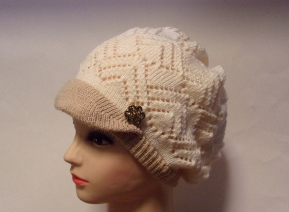 Lace slouch knit hat beret with knit brim and buttons  ce3d297b4e0