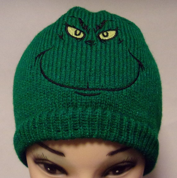 Grinch hat Christmas beanie holiday season Grinch skull  f1fcfd6795d