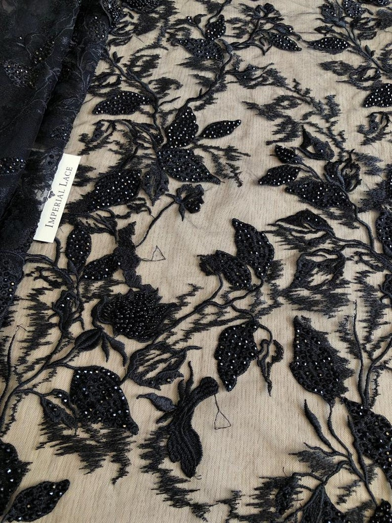 3D lace fabric Beaded lace M00163 Black lace Lingerie net fabric Black lace Black beaded lace fabric Black embroidery fabric