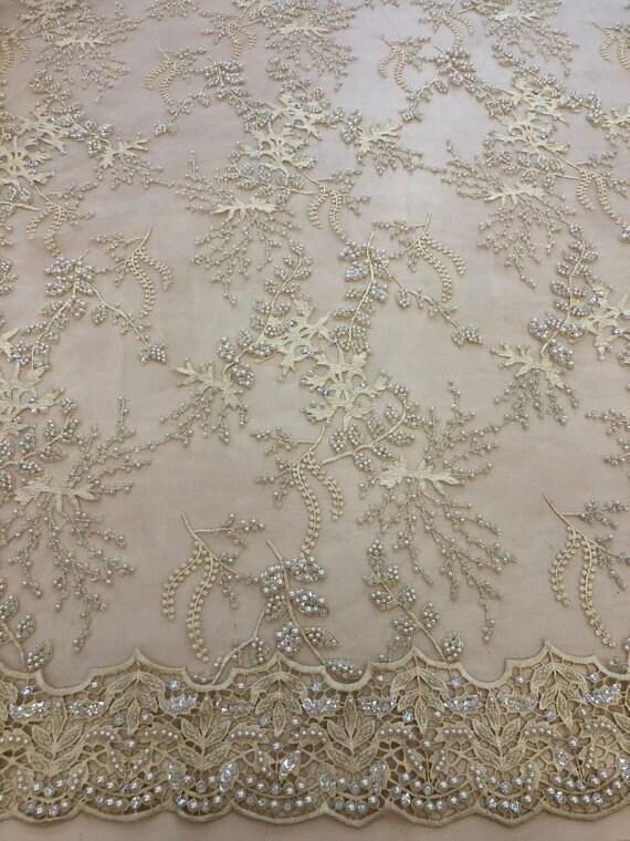 Tissu dentelle 3D beige perlé beige avec argent dentelle de tissu mariage dentelle tissu voile de dentelle dentelle Beige dentelle 3d spitze stoff Chantilly Lace K00718 ccc5ff