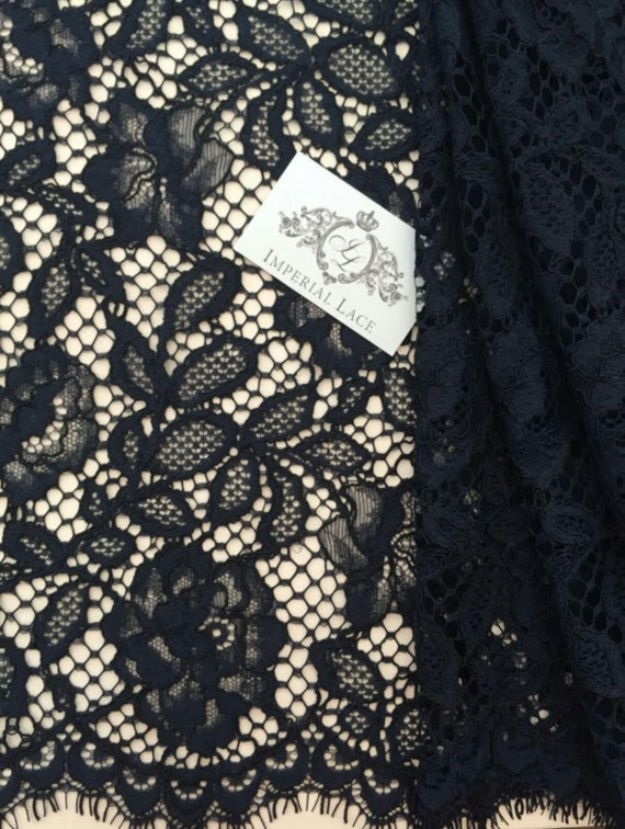 Bridal lace Dark blue Lace Fabric French Lace Lingerie Lace Chantilly Lace K00343 Embroidered lace Wedding Lace Veil lace