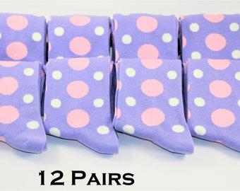 426eee4e9d35 12 Pairs | Lavender socks with blush and Ivory Polka Dots | Lavender Socks  | Wedding socks | Groomsmen Socks | Gift for men | Groom socks