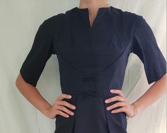 7ccb207dfa1 Vintage 1950s Leslie Fay Original Navy Blue Dress -- Size 2