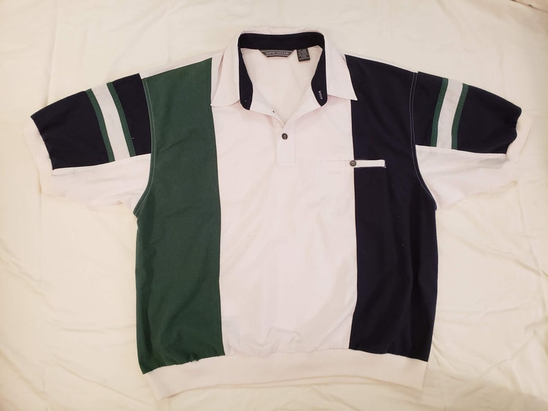 17b13348 Vintage 1980s David Taylor Colorblock Polo Collared Shirt, Very Full House!  -- Size L/XL