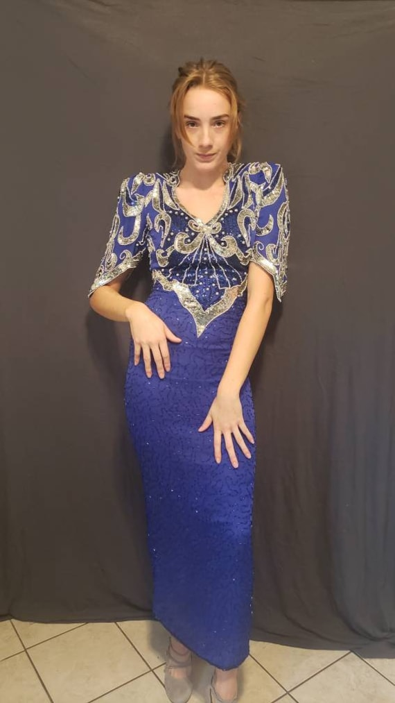 """Vintage 1980s """"Party Time"""" Blue Beaded Ball Gown -"""