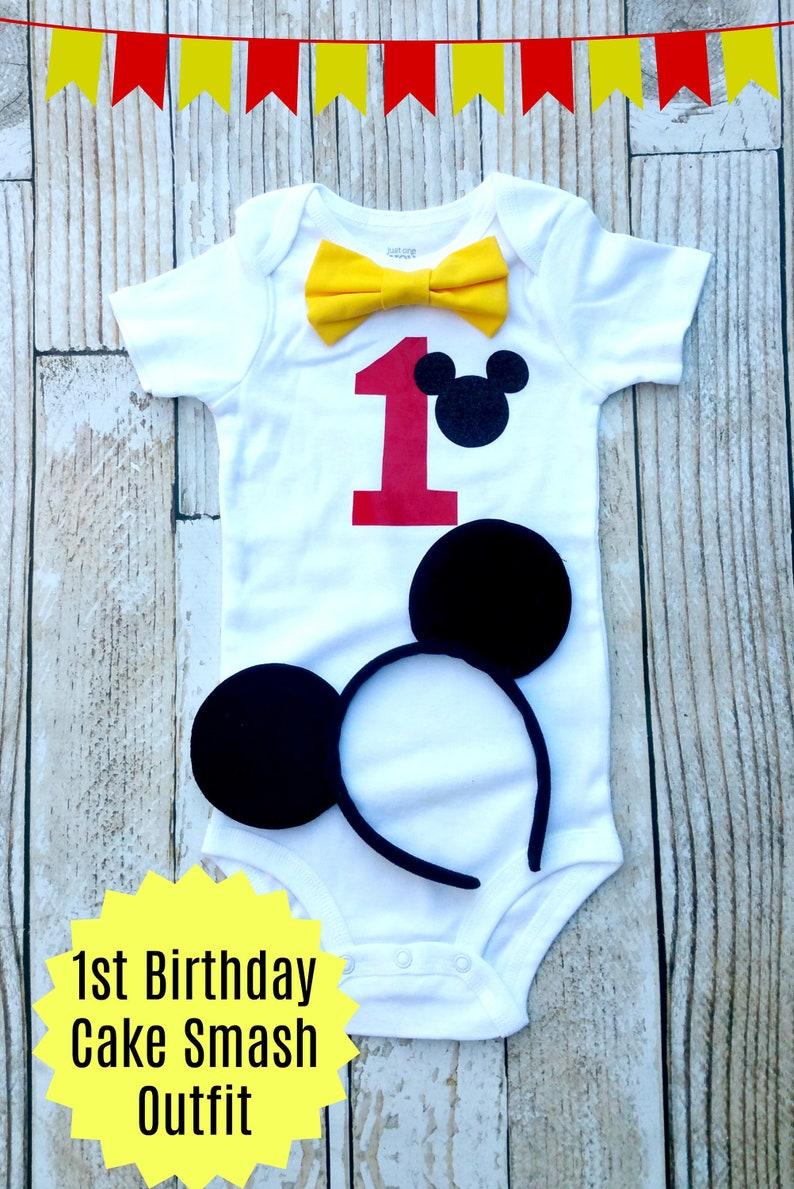 Baby Boy Mickey Mouse Birthday Onesie 1st