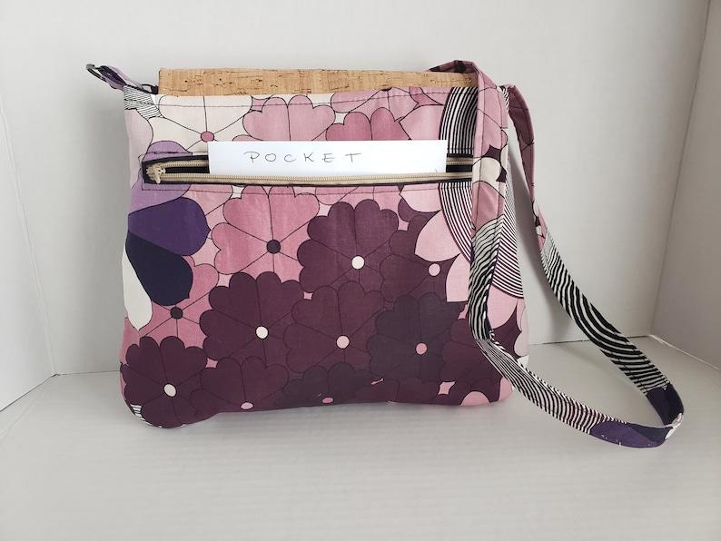 Purple Multi Design Handbag w Cork Flap