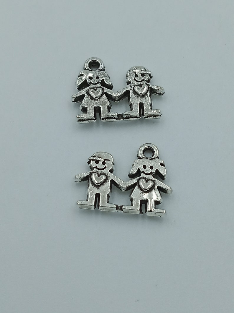 --14x11mm Antique silver DIY jewelry handmade base material 25pcs Lovers charms pendant